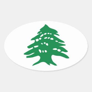 4緑のレバノンのヒマラヤスギ木 楕円形シール