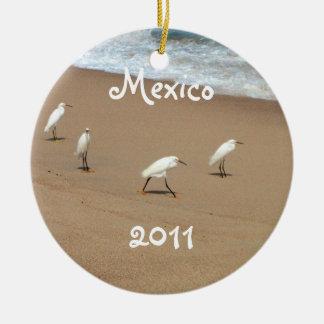 4羽の白鷺; メキシコの記念品 セラミックオーナメント
