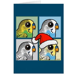 4色のクリスマスBudgies カード