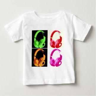 4色のヘッドホーンのポップアートの頭部の電話 ベビーTシャツ
