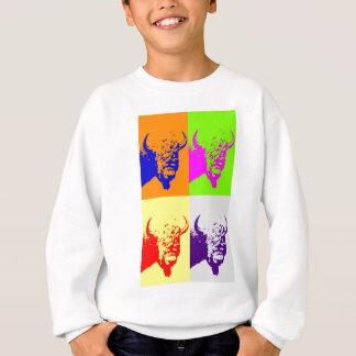 4色のポップアートのバッファローのバイソン スウェットシャツ