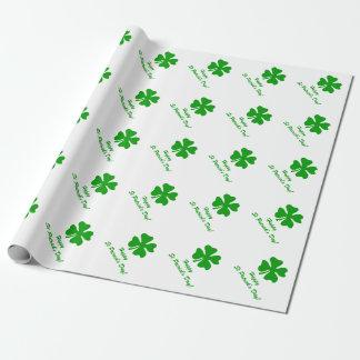 4葉のクローバー| St patricks dayの包装紙 ラッピングペーパー