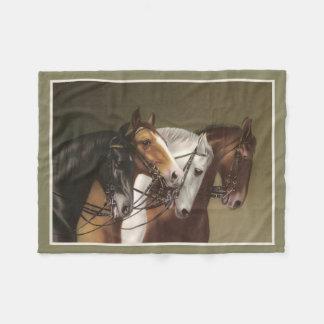 4頭の馬のファインアートのプリントのフリースブランケット フリースブランケット