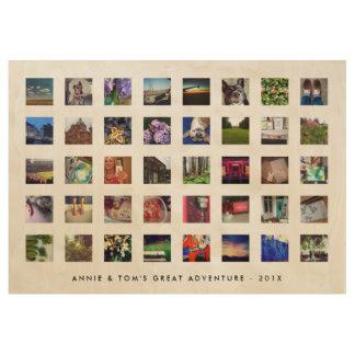 40カスタムな文字との正方形のInstagramの写真の記憶 ウッドポスター