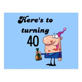 40個の誕生日のTシャツおよびギフトへの応援 ポストカード