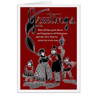 40年代のスタイルのクリスマスカードの挨拶 カード