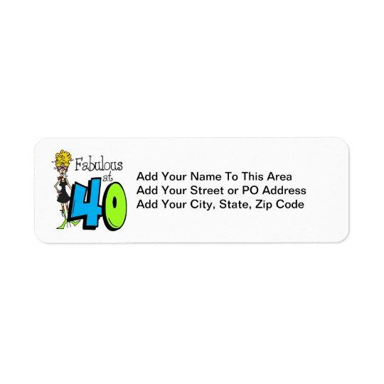 40誕生日のブロンドのすばらしい 返信用宛名ラベル