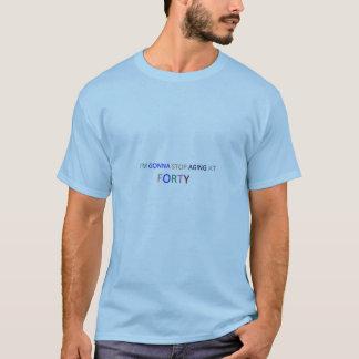 40青い基本的なTシャツの停止老化 Tシャツ
