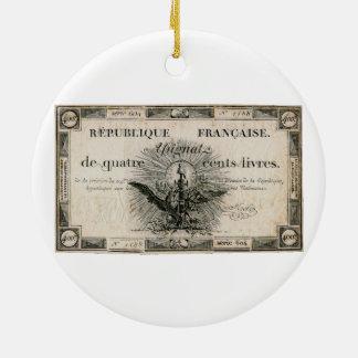 400のLivresのフランス革命のAssignatの銀行券 セラミックオーナメント