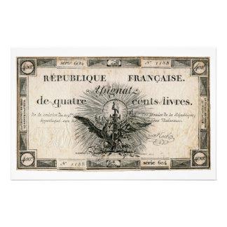 400のLivresのフランス革命のAssignatの銀行券 便箋