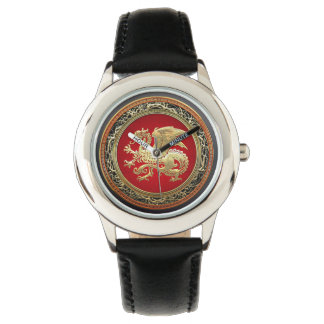 [400]アイスランドのドラゴン、Landvættir [金ゴールド] 腕時計