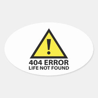404間違い: 見つけられない生命 楕円形シール