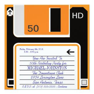 40.50の60の年齢のレトロのフロッピーディスクの誕生日の招待状 カード