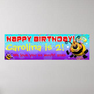 "40"" x12"" GiggleBellies BeeWeeの誕生日の旗 ポスター"