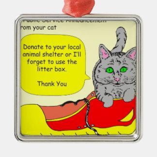 420は動物保護施設の漫画に寄付します メタルオーナメント