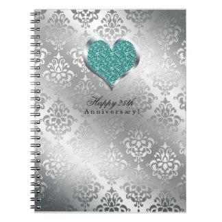 434銀の第25結婚記念日の来客名簿 ノートブック