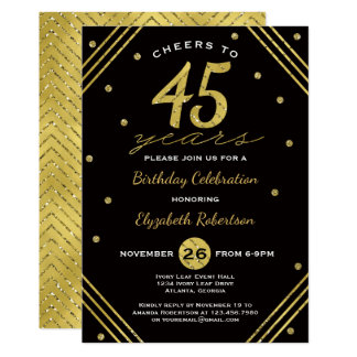 45th Birthday Party Invitation, Cheers, Faux Gold カード