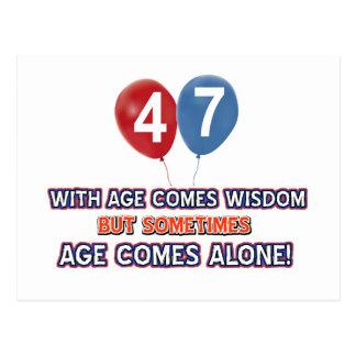 47歳の知恵の誕生日のデザイン ポストカード