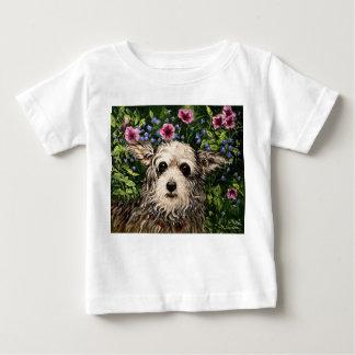 4796b犬及びペチュニアの民芸 ベビーTシャツ