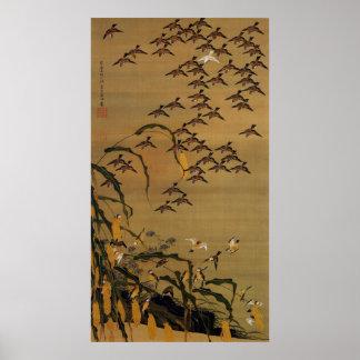 4. 秋塘群雀図、すずめの若冲の群、Jakuchū ポスター