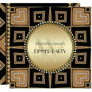 4 Corners of Love Black Gold Art Deco Dinner Party カード