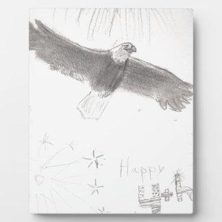 4' eliana.jを引いている7月の花火の白頭鷲のTh フォトプラーク