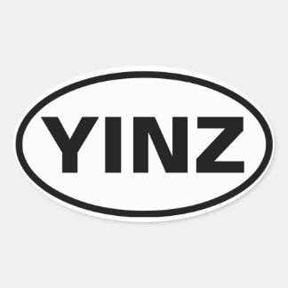 """4 """"YINZ """" 楕円形シール"""