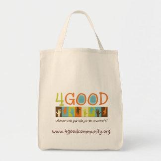 4GOODロゴの再使用可能な買い物袋 トートバッグ
