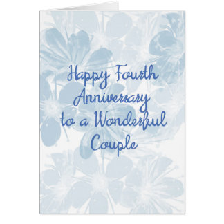4th Anniversary Card with Blue Flowers カード