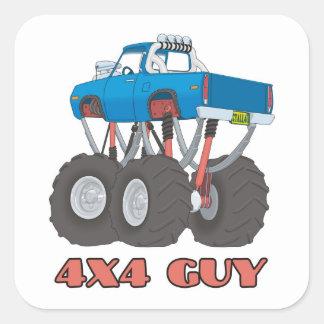 4x4人: 青、持ち上げられたオフロードモンスタートラック スクエアシール