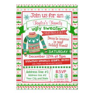 4x6クリスマスのパーティの招待状カード醜いセーター カード