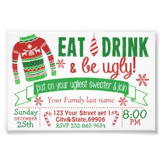 4x6クリスマスのパーティの招待状カード醜いセーター フォトプリント