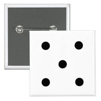 5つのサイコロボタン 5.1CM 正方形バッジ