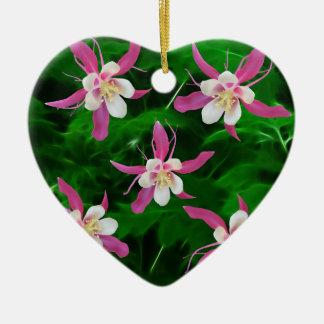 5つのピンクの鳩の花 セラミックオーナメント