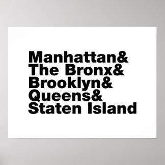 5つの自治区の~ニューヨークシティ ポスター