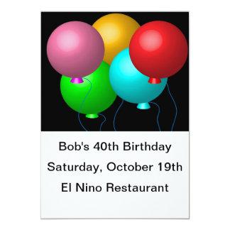 5つの誕生日の気球 カード