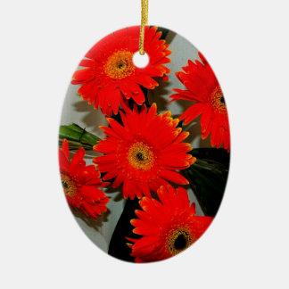 5つの赤い花 セラミックオーナメント