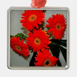 5つの赤い花 メタルオーナメント
