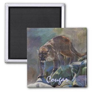 5つを絵を描いているクーガーのオオヤマネコの大きな猫 マグネット