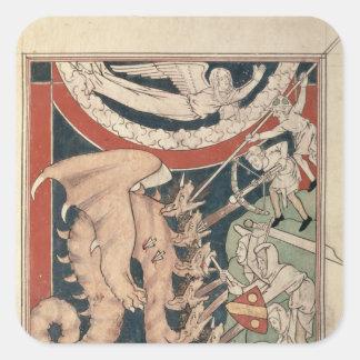 5人の戦いの上の雲の女性 スクエアシール