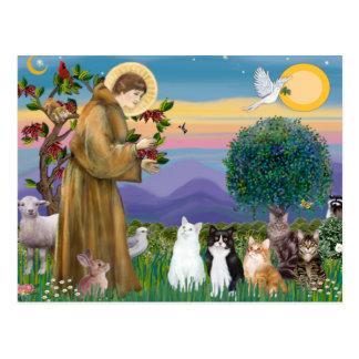 5匹の猫を賛美している姉妹フランシス ポストカード