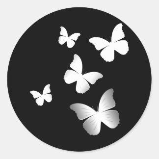 5匹の白い蝶 ラウンドシール