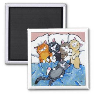 5匹の眠い子ネコ-猫の芸術の磁石 マグネット