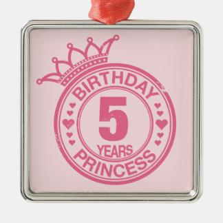5年-誕生日のプリンセス-ピンク メタルオーナメント