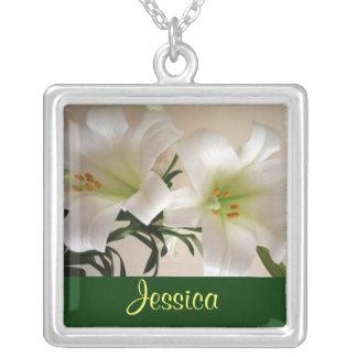 5月の誕生の花-ユリのネックレス シルバープレートネックレス