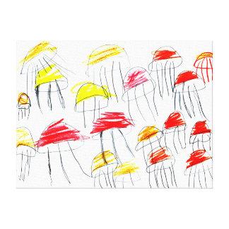 5歳の女の子によって描かれるカラフルなくらげ キャンバスプリント