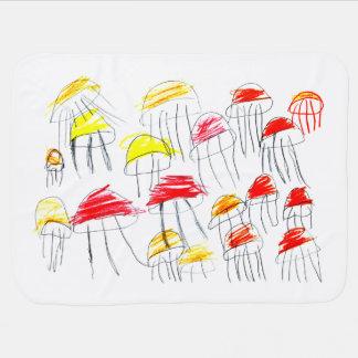 5歳の女の子によって描かれるカラフルなくらげ ベビー ブランケット