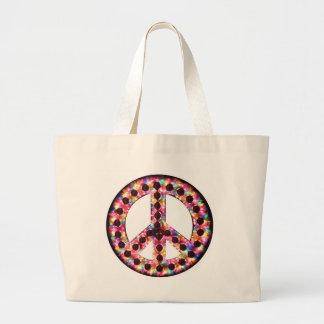 5色の平和バッグ ラージトートバッグ