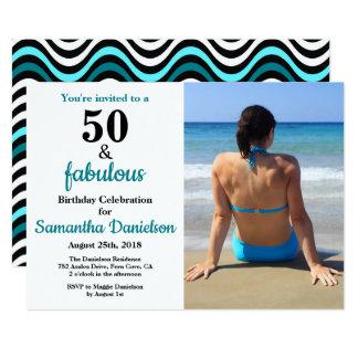 50およびすばらしいティール(緑がかった色)の第50誕生会の写真 カード