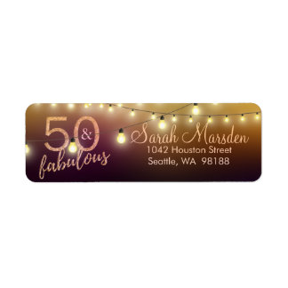 50およびすばらしいライト金ゴールドの黒の第50誕生日 ラベル